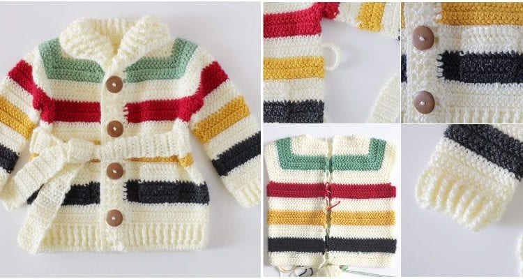 Hudson's Bay Sweater for Baby with free pattern and beginners friendly