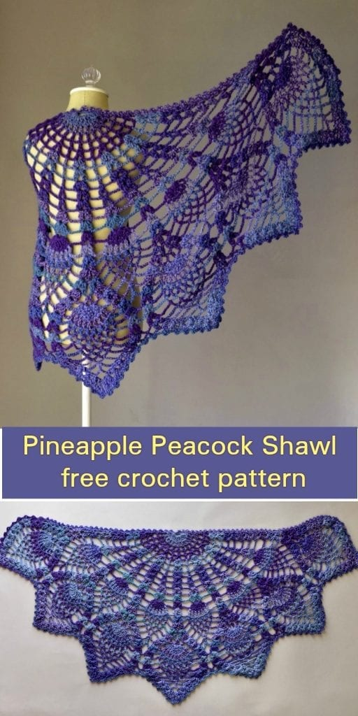Pineapple Peacock Shawl Free Crochet Pattern Your Crochet
