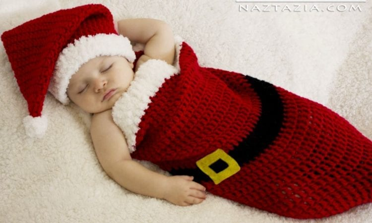 Baby Santa Hat And Cocoon Bunting Free Crochet Pattern And Video
