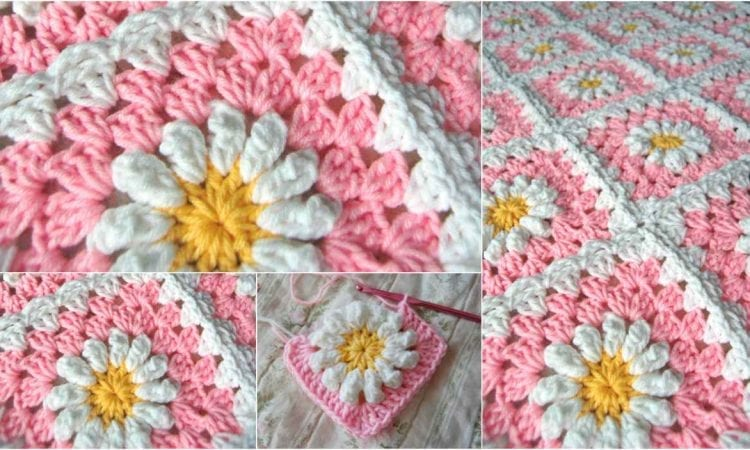 Granny Square Blanket 3d Daisies Free Pattern Your Crochet