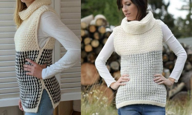 Easy Cowled Sweater Vest Free Pattern Your Crochet