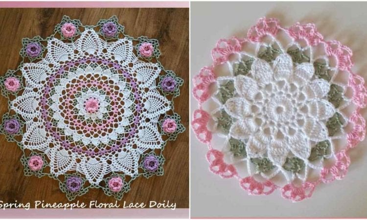 Spring Pineapple Floral Lace Doily Or Coaster Your Crochet
