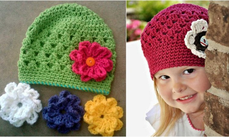 69029c013c9 Beanie with Interchangable Flower Clips  Free Crochet Pattern