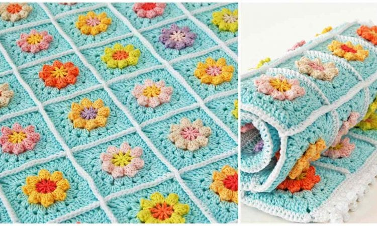 Primavera Flowers Granny Square Blanket Free Your Crochet