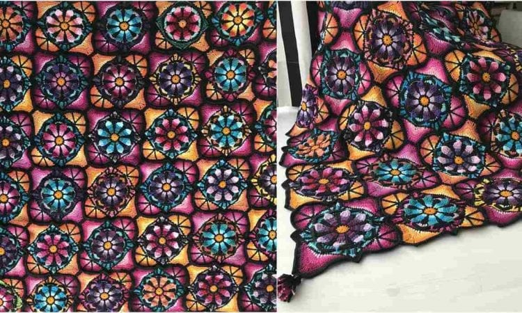 Stained Glass Flower Blanket Free Pattern