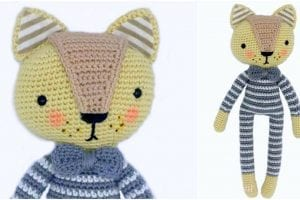 Cat in Striped Pajmas Amigurumi Doll Pattern