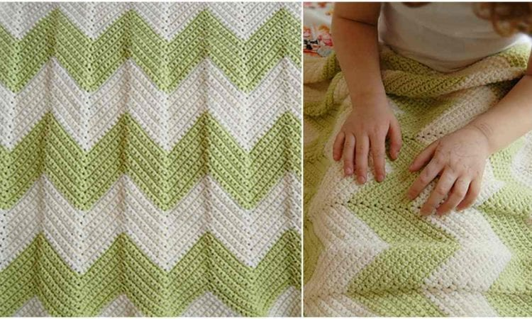 Chevron Baby Blanket With A Straight Edge Free Crochet Pattern