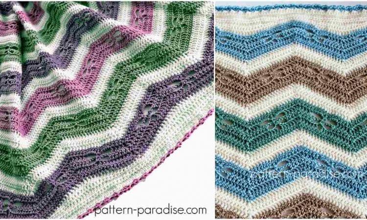 Dragonfly Chevron Blanket Free Crochet Pattern