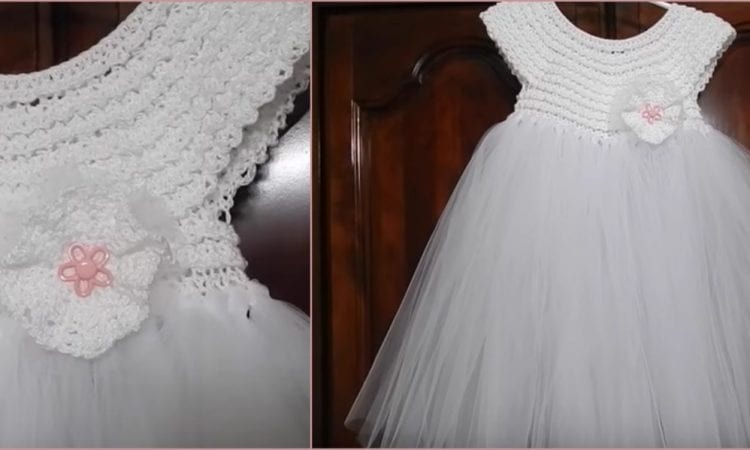 First Communion Baby Girl Tutu Dress Free Crochet Pattern and Video Tutorial