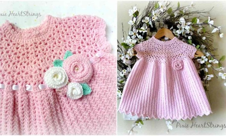 Pixie's Pretty Pink Baby Girl Dress Free Crochet Pattern