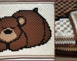 Sleepy Bear Reversible Baby Blanket Free Crochet Pattern