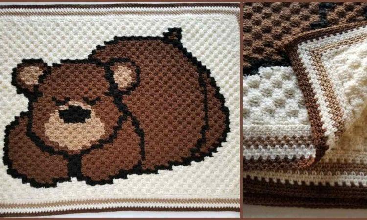 Sleepy Bear Reversible Baby Blanket Free Crochet Pattern