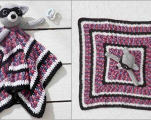Lovely Raccoon Baby Blankie Blanket Free Crochet Pattern