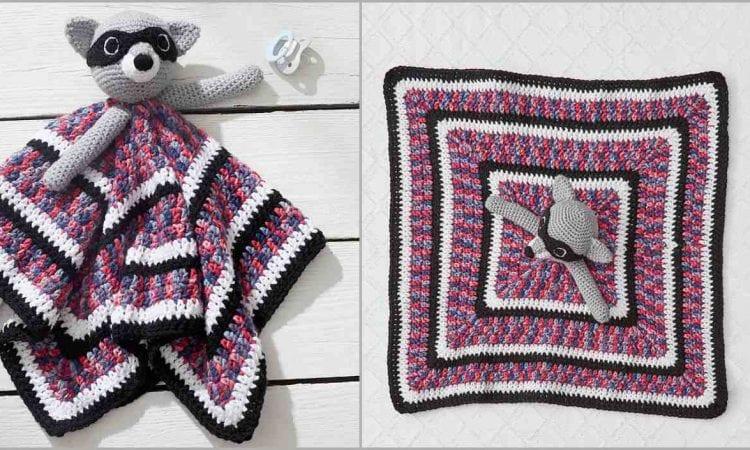 Lovely Raccoon Baby Blankie Blanket Free Crochet Pattern