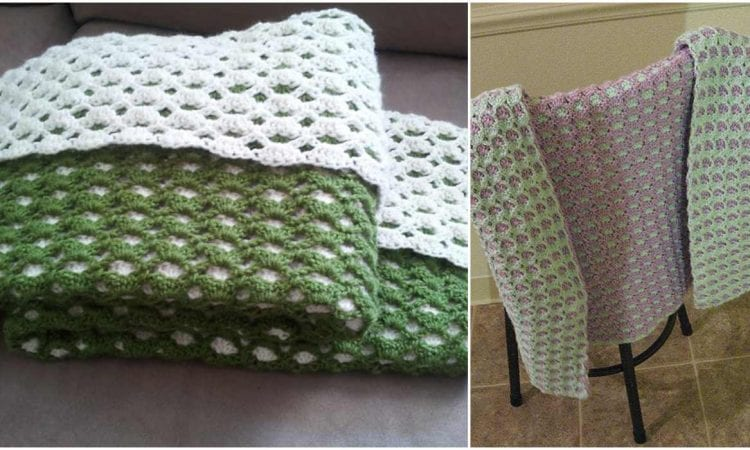 2 Sided Baby Shell Afghan - Reversible -Free Crochet Pattern