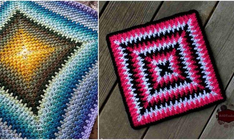 Mosaic Rippes Blanket Free Crochet Pattern