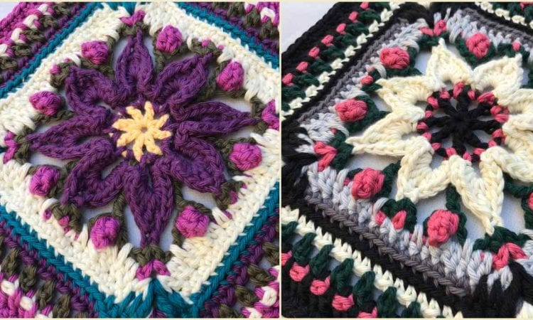 Macey Ann Square for Afghans Pillows Free Crochet Pattern