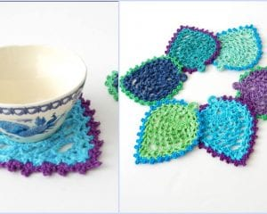 Peacock Style Pineapple Coasters Free Crochet Pattern