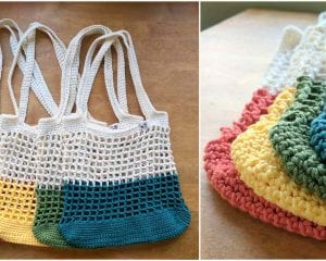 Color Block Market Bag Free Crochet Pattern