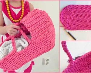 Doll's Carry Basket Free Crochet Pattern