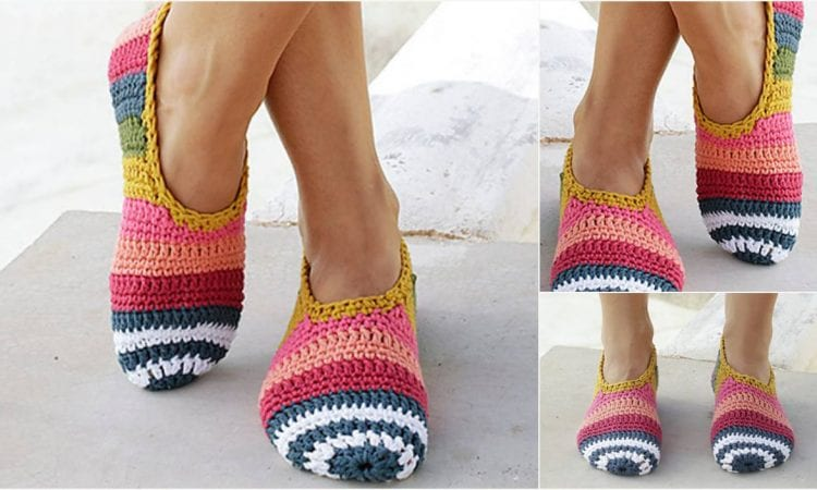 Easy and colorful slippers with stripes