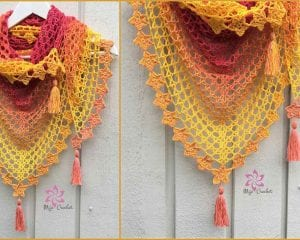 Tea Flower Shawl Wrap Free Pattern