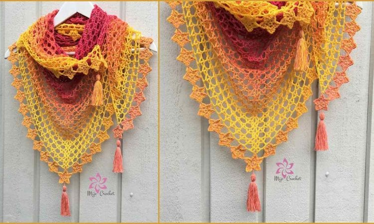 Tea Flower Shawl Wrap Free Pattern