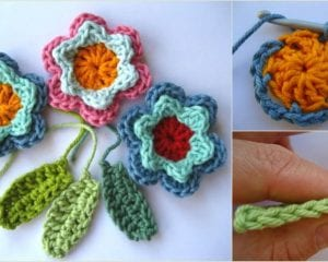 Beautiful Flowers and Leaves Free Crochet Pattern and Tutorial