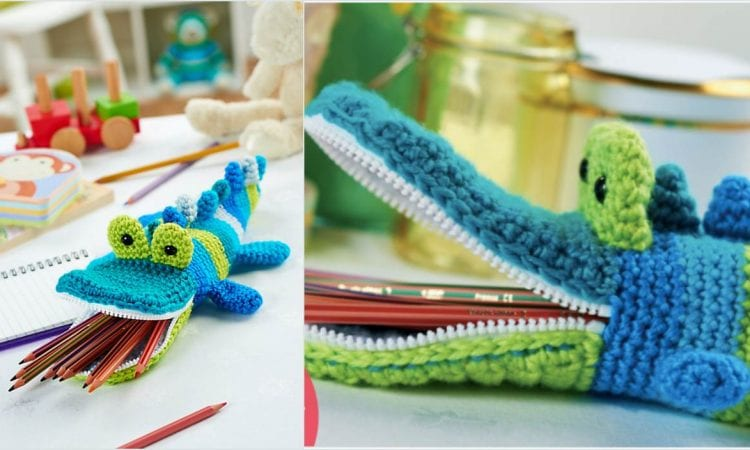 Crocodile Pencil Case Free Crochet Pattern