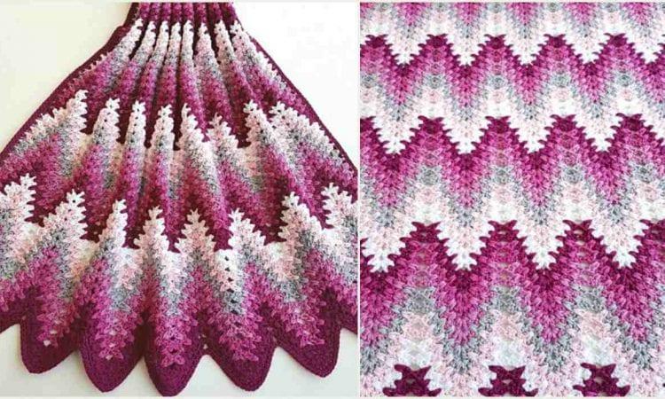 Heartbeat Ripple Blanket Free Crochet Pattern