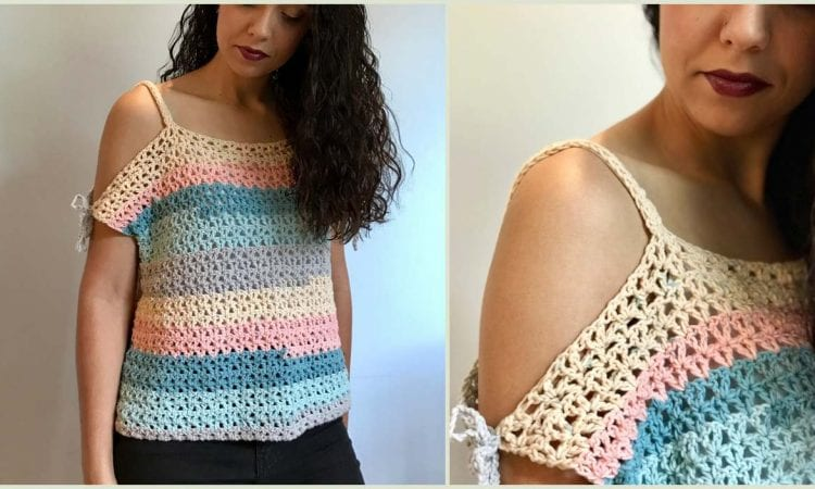 Peephole Shoulder Crop Top Free Crochet Pattern