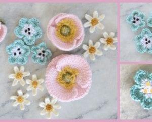 Crochet Nemophila Flower Free Pattern