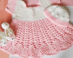Baby Dress and Kitty Booties Free Crochet Pattern
