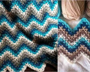 V-stitch Ripple Afghan Free Crochet Pattern