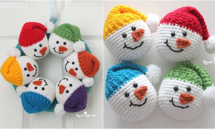 Circle of Snowmen Wreath Free Crochet Pattern