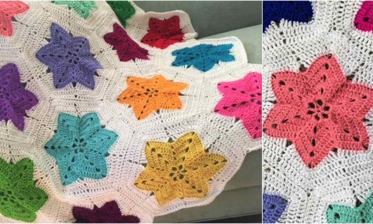 Little Colorful Hexagon Pieced Star Blanket Free Pattern