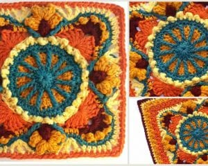 Autumn On My Mind Blanket of Square Free Crochet Pattern