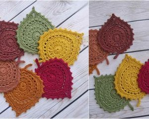 Leaf Coasters Free Crochet Pattern