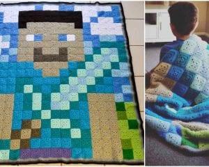 Minecraft Blanket Free Crochet Pattern