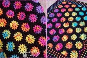 Rainbow Hexagon Motif Blanket Free Crochet Pattern