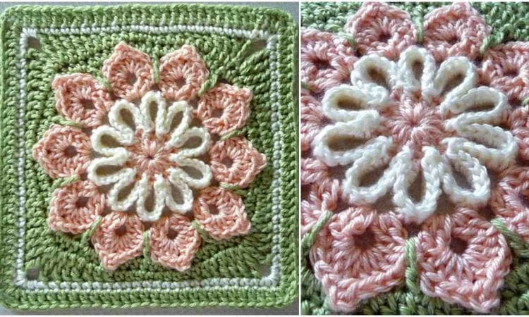 Simple 10 Petal Afghan Square Free Crochet Pattern