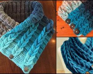 Easy Braided Cowl Scarf Free Crochet Tutorial in English