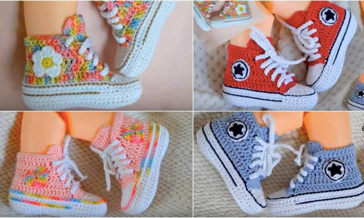 145e259e8691 Baby Converse Booties Free Crochet Pattern and Tutorial