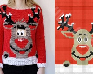 Digital Reindeer Christmas Sweater Free Pattern