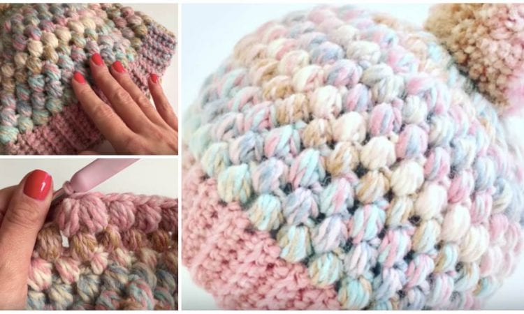 Easy Puff Stitch Beanie Free Crochet Tutorial in English