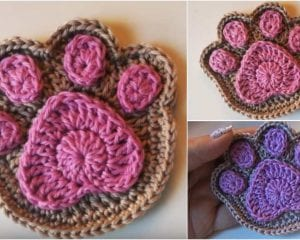 Paw Print Free Crochet Pattern and Tutorial