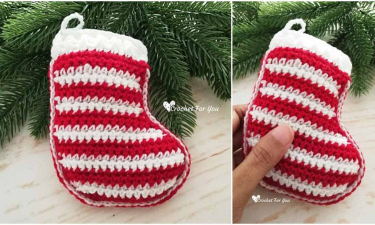 Christmas Stocking Ornament Free Crochet Pattern