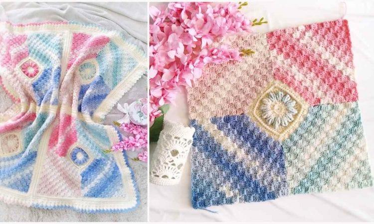 Flower Corner Baby Blanket Free Crochet Pattern