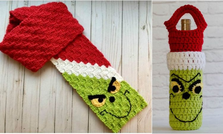 Grinch C2c Scarf And Wine Cozy Free Crochet Patterns Your Crochet