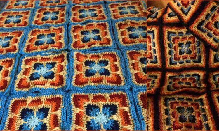 Larksfoot Inspired 12″ Granny Square and Afghan Free Crochet Pattern